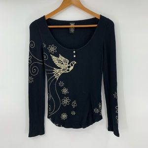 Lucky Brand Thermal Shirt Bird Floral Embroidered